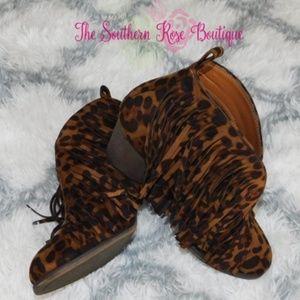 New! Fringe Booties Ankle Boots Block Heel